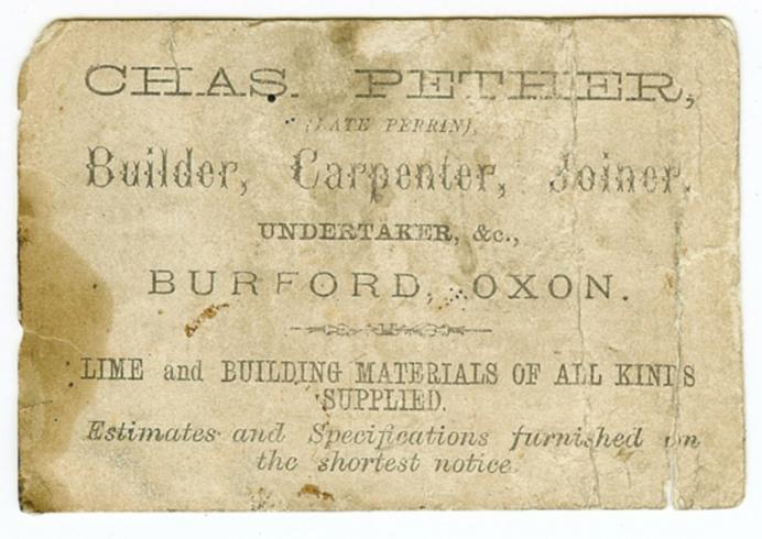 Original Pethers Business Card